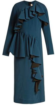 Marni Gathered Ruffle Long Sleeved Crepe Dress - Womens - Dark Blue