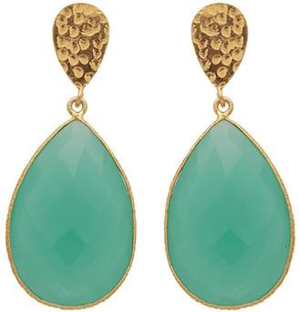 Carousel Jewels - Double Drop Aqua Chalcedony & Golden Nugget Earrings