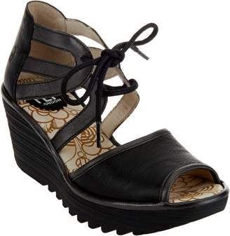 Fly London Leather Two Piece Lace-up Wedges - Yaty