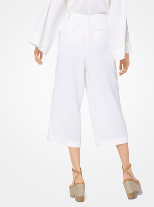 Michael Kors Linen-Crepe Cropped Trousers