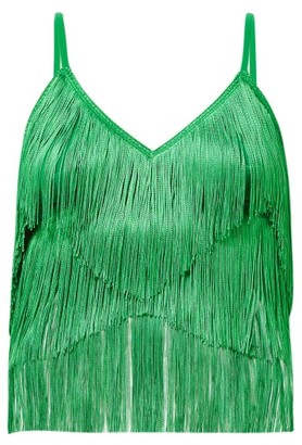 Norma Kamali Tiered Fringe Stretch Jersey Crop Top - Womens - Green