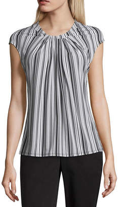 Liz Claiborne Cap Sleeve Twist Neck Knit Blouse