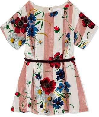Burberry Striped Floral Print Velvet Shift Dress