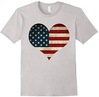 Heart Shaped American Flag Patriotic 4th of July T Shirt Top