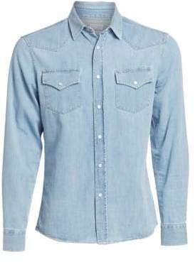 Brunello Cucinelli Western Chambray Denim Button-Down Shirt