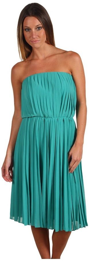 Halston Strapless Pleated Dress