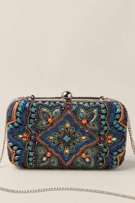 francesca's Raylee Beaded Hard Case Clutch - Turquoise