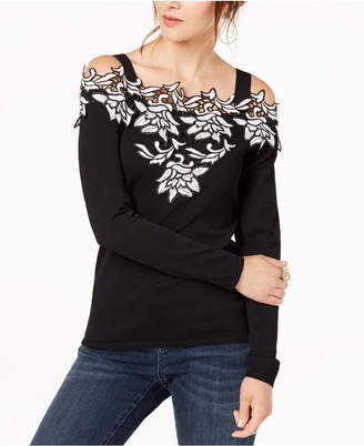 INC International Concepts I.n.c. Applique Cold-Shoulder Sweater, Created for Macy's