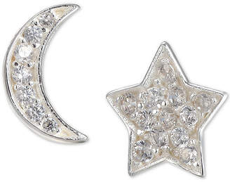 Unwritten Cubic Zirconia Moon & Star Mismatch Stud Earrings in Sterling Silver