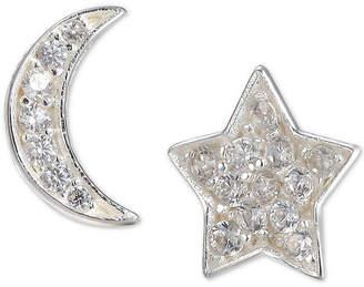 Unwritten Cubic Zirconia Moon & Star Mismatch Stud Earrings in Sterling Silver