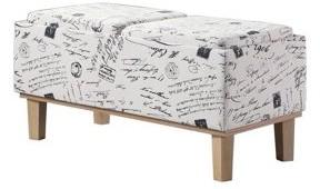 "BEIGE Ore International 17"" in STENCILS LETTER PATTERN SEAT FLIP STORAGE BENCH w/ UNFINISH LEGS"