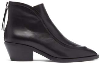 8b7ec7e330ca5 Jil Sander Pointed Toe Western Leather Ankle Boots - Womens - Black