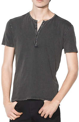 John Varvatos Short Sleeve Woven Trim Henley