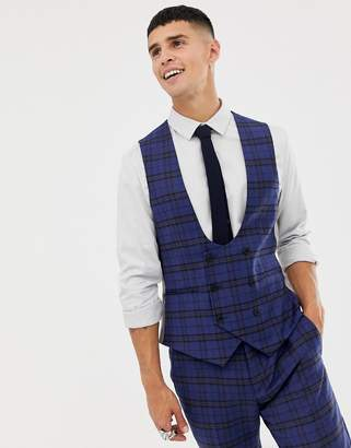 2bf23c57f887ea Twisted Tailor super skinny waistcoat with blue tartan check in wool