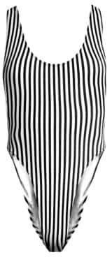 Norma Kamali Marissa Stripe High-Cut One-Piece Swimsuit