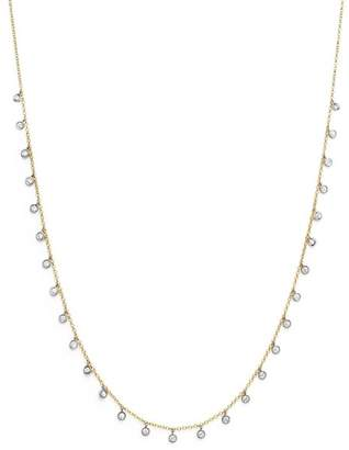 Meira T 14K Yellow and White Gold Diamond Bezel Dangle Necklace, 15""