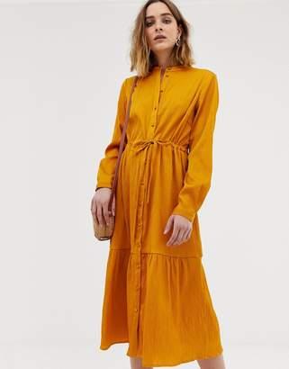 Pieces gathered waist midi shirt dress