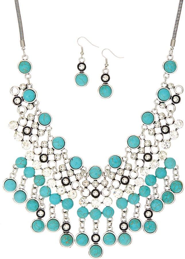 Silver & TealBib Necklace & Earrings