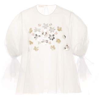 DELPOZO Embroidered Silver Blouse