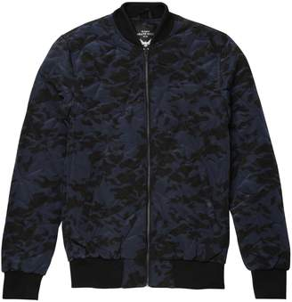 Brave Soul Mens Bono Geometric Quilted Camo Print Bomber Jacket (L)