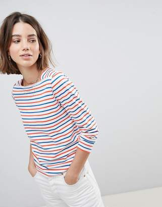 People Tree Organic Fairtrade Cotton Long Sleeve T-Shirt In Breton Stripe