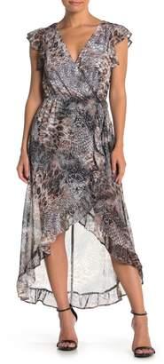 KENEDIK Snakeskin Print Faux Wrap High/Low Dress
