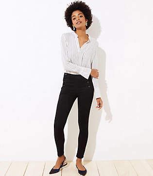 LOFT High Waist Sailor Skinny Jeans in Black