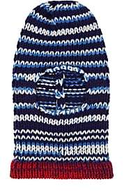 Calvin Klein Women's Stockinette-Stitched Wool Balaclava-Navy Royal Blue Off White