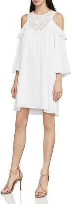 BCBGMAXAZRIA Cole Lace-Inset Cold-Shoulder Dress