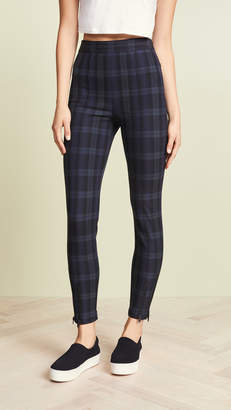 Alexander Wang Stretch Plaid Fitted Leggings