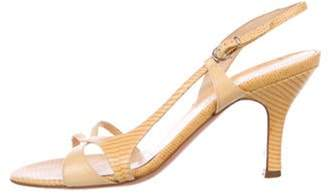 Salvatore Ferragamo Embossed Leather Peep-Toe Slingback Sandals Yellow Embossed Leather Peep-Toe Slingback Sandals
