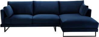 Webster Temple & 3 Seater Navy Velvet Zanda L-Shaped Sofa