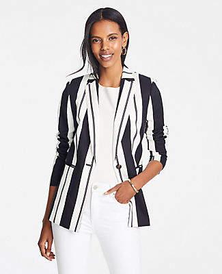 Ann Taylor Petite Striped Long Blazer