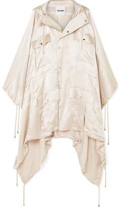 Koché - Asymmetric Hooded Satin Coat - Ivory