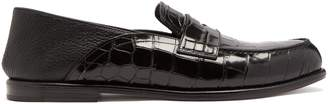 Loewe Collapsible-heel crocodile-effect leather loafers