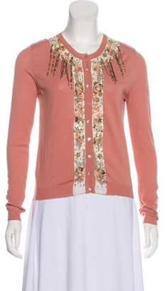 Blumarine Embellished Knit Cardigan Pink Embellished Knit Cardigan