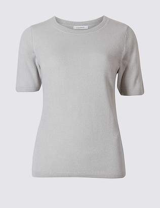 Marks and Spencer CashmilonTM Round Neck Short Sleeve Jumper