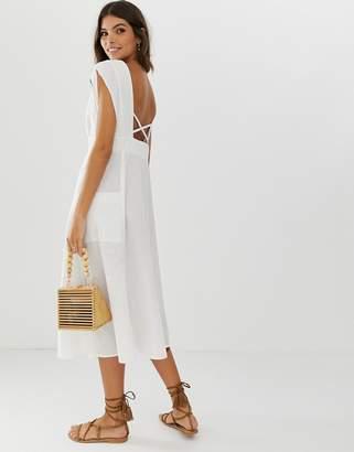 27edb269589 Asos Design DESIGN button through open back midi dress with pockets