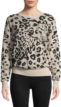 Rebecca Taylor Animal Jacquard Wool Pullover Sweater