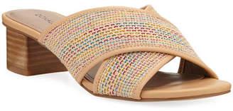 Donald J Pliner Mally Shimmery Woven Low-Heel Sandals