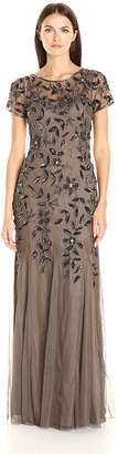 Adrianna Papell Women's Floral Beaded Godet Gown, Taupe/Pink