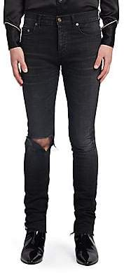Saint Laurent Men's Washed Distressed Skinny-Fit Jeans