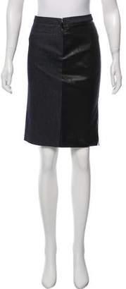 Miu Miu Leather-Paneled Denim Skirt