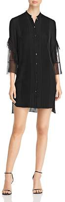 Elie Tahari Sawyer Pleated Silk Shirt Dress