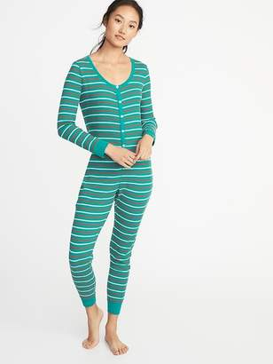 Old Navy Patterned Thermal-Knit One-Piece PJs for Women