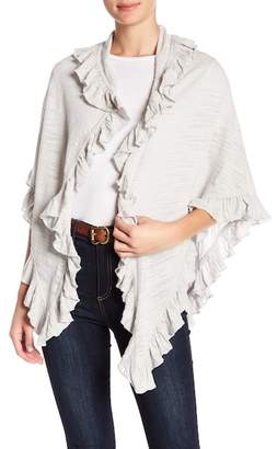 Minnie Rose Open Ruffle Trim Shawl