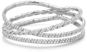 David Yurman Paveflex Three Row Bracelet With Diamonds In 18K White