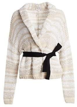 Brunello Cucinelli Women's Knit Belted Cardigan - White Beige Multi - Size Medium