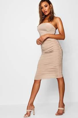 boohoo Corinna Soft Touch Slinky Rouched Midi Skirt