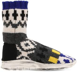 Maison Margiela Sock Jacquard Knit High Top Sneakers